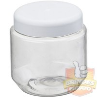 Pote Plastico PET 250ml, Potinho Pet 250ml com Tampa Branca